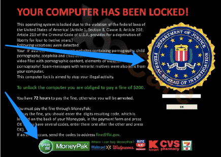 FBI Moneypak Virus screenshot