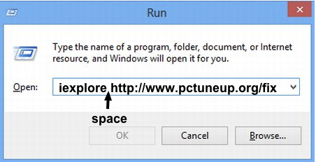 Virus removal shortcut using the run box